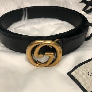 Gucci Double G black leather belt Size 95